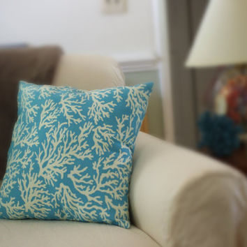 Beach Decor Ocean Blue and Ivory Sea Fan Coral 18x18 Throw Pillow
