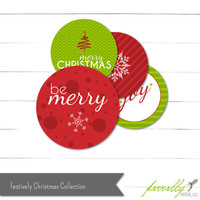 Etsy CIJ Sale, Party Circles - Gift Tags - Cupcake Toppers - Festively Christmas Collection - Instant Download
