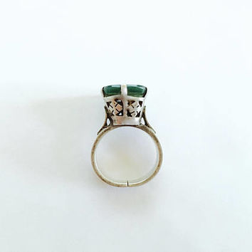 Unique Large Flat Dark Jade Green Stone set in 950 Israel Sterling Silver, Ornate High Set BoHo Silver Ring