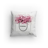 Fashion Shopping Bag & Peonies Decorative Pillow