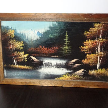 Vintage Framed Nature Woodland Painting on Black Velvet with Waterfalls and Mountain Background - Mexico