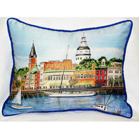 Coastal Home Decor & Gifts - Shop of the Sea — Annapolis City Dock Small Outdoor/Indoor Pillow