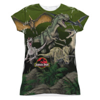JURASSIC PARK PACK OF DINOS Cap Sleeve Juniors 100% Polyester T-shirt