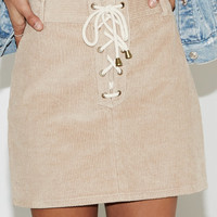 Kendall and Kylie Corduroy Lace-Up Skirt at PacSun.com