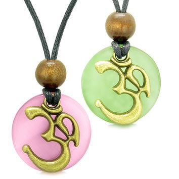 Ancient OM Tibetan Amulets Love Couples Yin Yang Powers Neon Green and Pink Simulated Cats Eye Necklaces