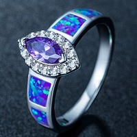 UNIENO Opal ring fashion Opal opal jewelry Purple