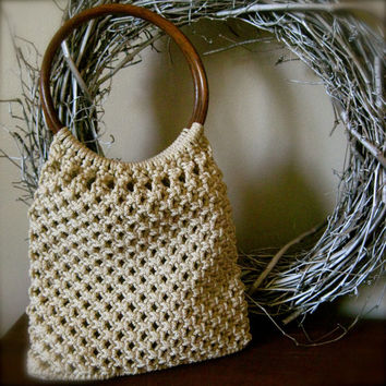 Vintage Macramé Bag Purse with Circular Wooden Handles - natural tan macrame purse hobo bag woven