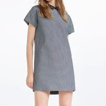 Black Plaid Pattern Peter Pan Collar Short Sleeve Pullover A-Line Dress