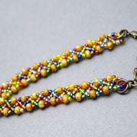 Boho Bracelet, Multi Color Hand Beaded Bracelet