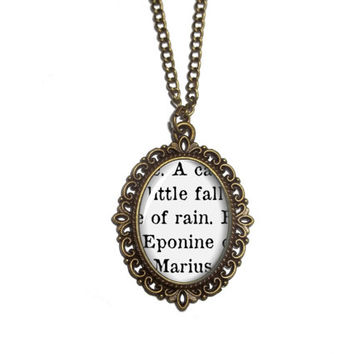 Les Miserables Necklace, Eponine and Marius 'A little fall of rain' Victor Hugo, Book Quote Necklace Jewelry, Literary Gift For Readers