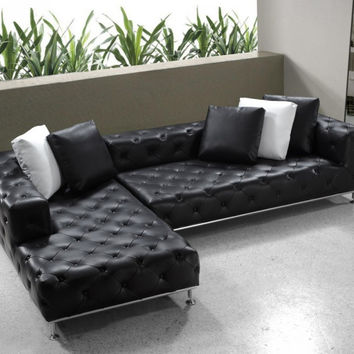 Divani Casa Jazz - Modern Tufted Leather Sectional Sofa VG2T0687