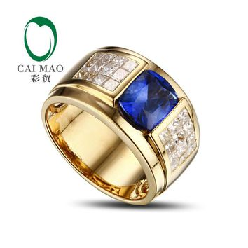 Promotion 14K Yellow Gold 3.1ct Tanzanite & Natural Diamond Engagement Wedding Mens Ring