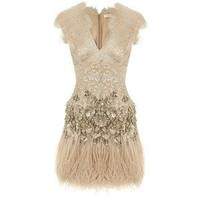 Lacquer Lace Feathered Dress with Belt - Matthew Williamson - Polyvore