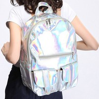 MapleClan Bling Glitter PU Casual Backpack For School Laptop Bag Silver