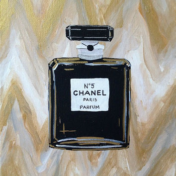 """Chanel No. 5 Painting Metallic Gold and White Chevron Art Canvas 8"""" x 10"""""""
