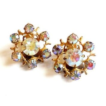Aurora Borealis Rhinestone Flower Earrings - Rhinestone Cluster Earrings - Clip On Earrings - Gold Tone Metal -