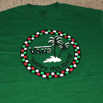 Sale!! Vintage VANS of the wall green holiday T-shirt street wear tee