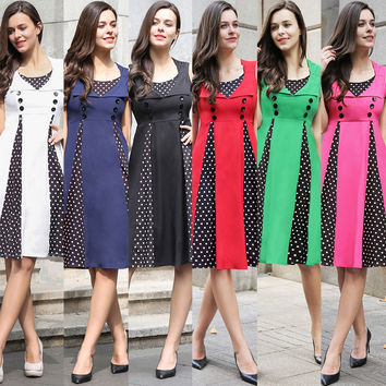 Plus Size Women's Fashion Stylish Patchwork Summer Dress [10016918285]