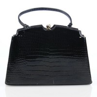 Vintage Lewis Antelle Patent Leather Black Handbag | VintageAnelia - Bags & Purses on ArtFire