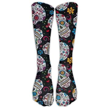 Sugar Skull Calavera Día de los Muertos Novelty Cotton Knee High All-Over Printed Socks