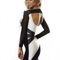 Quontum 3/4 Sleeve Mesh Cross Back Dress with Off White Inse
