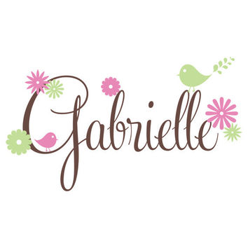 Girls Room Wall Decal Personalized With Name Flowers And Birds For Girl Baby Nursery or Teens Bedroom Vinyl Wall Art 15H x 36W GN059
