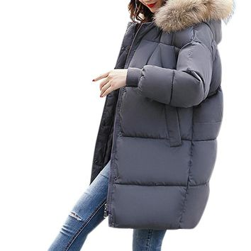 Parkas for Women's Winter Hooded Widened Thickened Fur Collar Long Parka with Removable Easy to Clean Hooded Collar Aug18