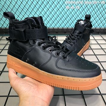 DCCK N218 Nike SF Air Force 1 Mid Leather Canvas Skate Shoes Black Maroon