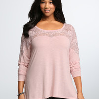 Embroidered Lace Illusion Top