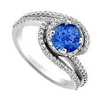 Blue Sapphire and Diamond Engagement Ring 14K White Gold 1.10 CT TGW