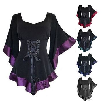 Womens Tops Tunic Long Gothic Punk Hip Hop Clothes Ladies Blouse New Puls Size Black Costume