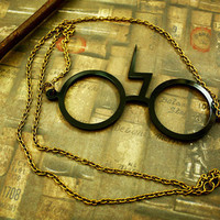 Harry Potter Scar Glasses necklace HP Geekery by SixAstray