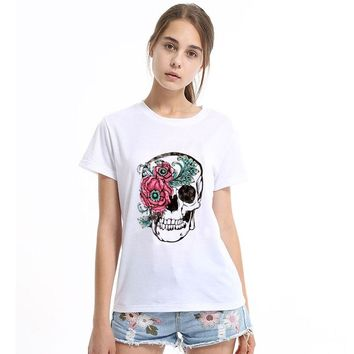 *Women T-shirt Slower Suger Skull Punk T shirt Spring Summer Tops For Female Clothing Hot Sale