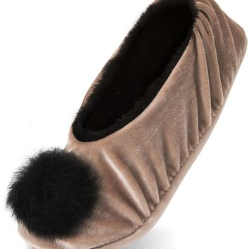 Silky Smooth Ladies Pompom Almond Velvet Slipper