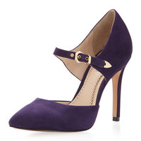 Cecilia Suede Ankle-Strap Open-Side Pump, Plum