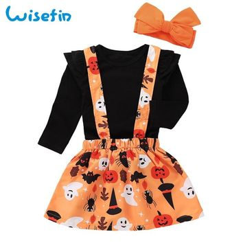 Wisefin Toddler Girls Clothes Sets Autumn Children Clothing Set Flower Kids Outfit Halloween Clothes Pumpkin Overalls+Fall Shirt