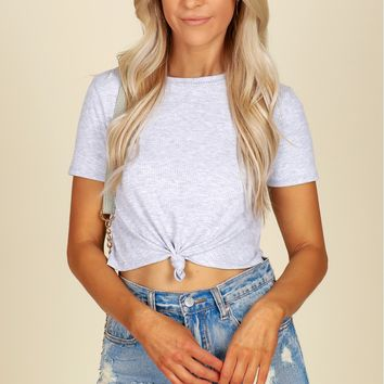 Ribbed Tie Crop Top Grey