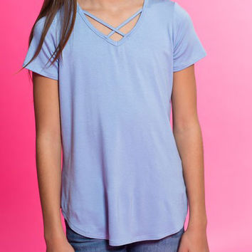 Pomelo Clothing Criss Cross Top for Girls in Sky PTK2407-SKY