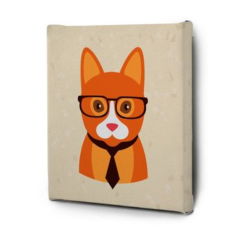 Hipster Animals Pictures Canvas Wall Art Painting Prints Orange Dog