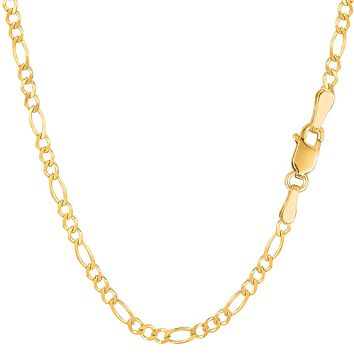 14k Yellow Solid Gold Figaro Chain Bracelet, 2.6mm, 7""