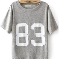 Grey Short Sleeve 83 Print Graphic T-Shirt