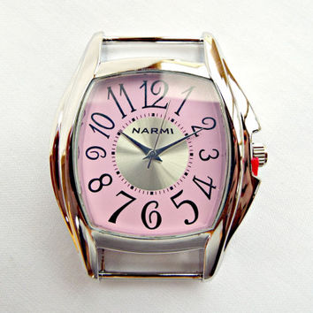 Pink Face Watch, Silver and Pink Watch Face, Watch Making Supply, UK Seller, Chunky Watch Face, Solid Bar Pink Square Watch Face Jewelry