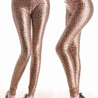 Sexy Black Leopard Cheetah Animal Print Foil Faux Leather Wet Look Leggings