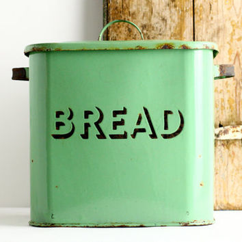 Vintage Green Enamel Bread Box - Art Deco Kitchen