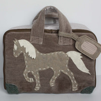 Toddler's, kids' and babies' travel set. Travel bag for true horse and pony lovers. Bag, blanket, neck cushion, eye cover. Kids' travel kit.