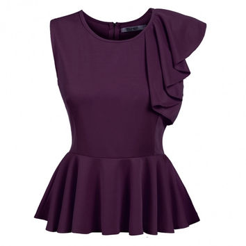 Sleeveless One Shoulder Asymmetric Ruffles Peplum Top