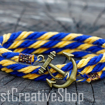 SALE! Anchor Bracelet / Yellow Blue Bracelet / Sea Nautical Cotton Bracelet / Marine Rope Bracelet / Mens Bracelet Women Men Rope Bracelet