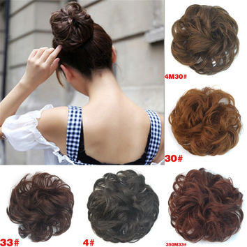Sale 1pc Women Fashion Synthetic Hair Chignon Natural Hair Bun Extension Curly Scrunchie HairBand Hair Accesories Free Shipping