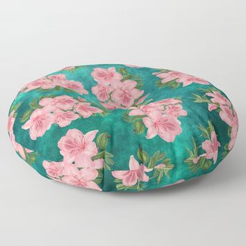 Pink Blossom On Teal Floor Pillow by inspiredimages