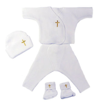 Unisex Baby Four Piece Clothing Set with Gold Crosses